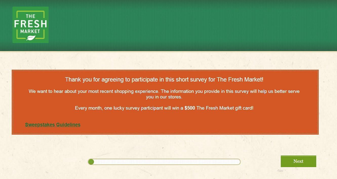 homepage of thefreshmarketsurvey.com
