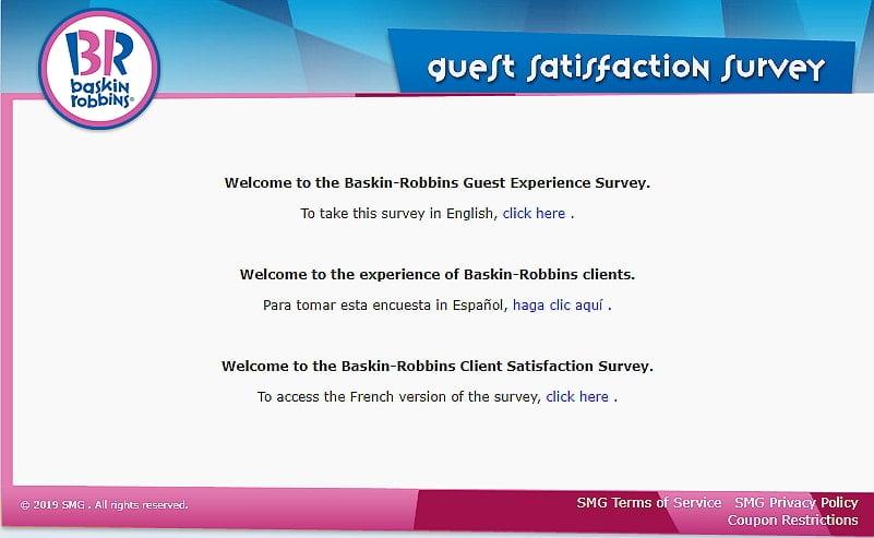 www.tellbaskinrobbins.com homepage