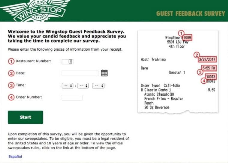 homepage of mywingstopsurvey.com